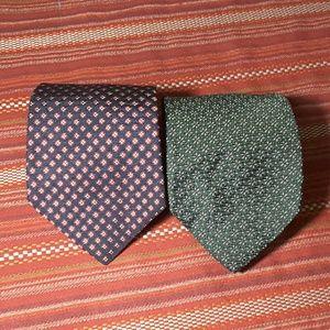 J CREW silk tie green black 2 for 1